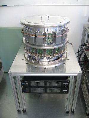 Tomograph side view, used for magnetic induction tomography in medical systems. Reconstructs a conductivity distribution of the tissue under investigation.