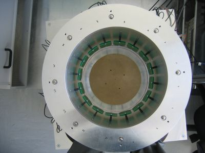 Tomograph top view, used for magnetic induction tomography in medical systems. Reconstructs a conductivity distribution of the tissue under investigation.
