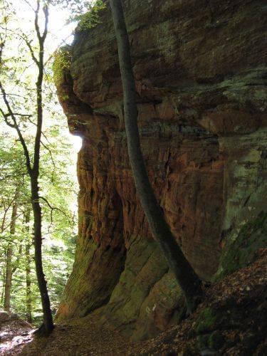 Felsen im Wald. Wanderung bei Trier in der Eifel. Bäche, Wasserfälle, Herbstwald und sagenumwobene Höhlen.