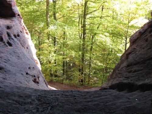 Hier geht es abwärts. Wanderung bei Trier in der Eifel. Bäche, Wasserfälle, Herbstwald und sagenumwobene Höhlen.