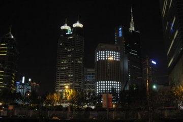 City bei Nacht. Jin Mao Tower 金茂大厦 und Cloud 9 Bar, Shanghai 上海, China 中国