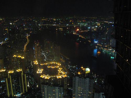 Blick auf den Huang Pu River vom Jin Mao Tower 金茂大厦 und Cloud 9 Bar, Shanghai 上海, China 中国