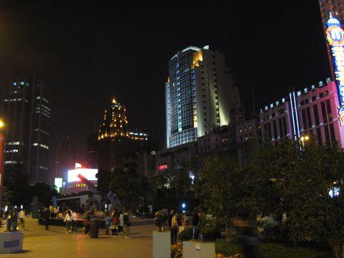 People's Square 人民广场 bei Nacht, Shanghai 上海, China 中国