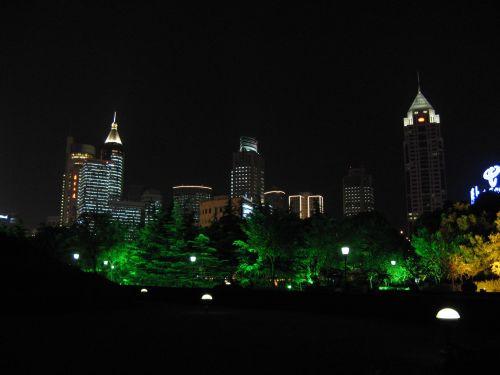 Skyline at night. People's Square 人民广场 bei Nacht, Shanghai 上海, China 中国