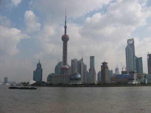 Pudong Fernsicht. Shanghai 上海 - The Bund 外滩 und die Innestadt, China 中国
