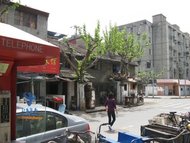 Grau mit wenig Grün. Schön ist anders. Alltägliche Bilder aus Shanghai 上海, China.