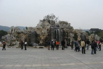 Wasserfälle. Lingshan 灵山, Grand Buddha, Provinz Wuxi, China