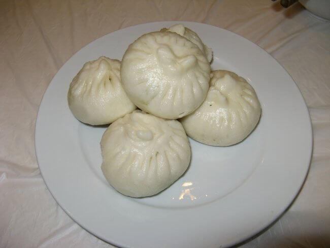 Lecker Dumplings. Lingshan 灵山, Grand Buddha, Provinz Wuxi, China.