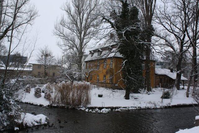 Winter in Erfurt. Schnee im Venedig.