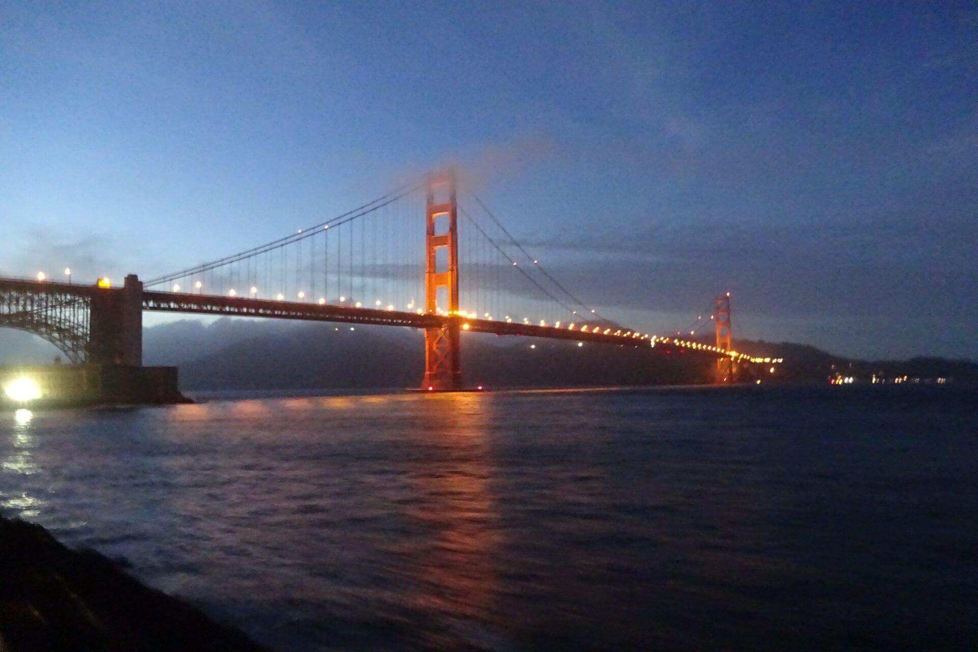 Golden Gate Bridge am Abend. Bilder und Eindrücke aus San Francisco, California, United States.