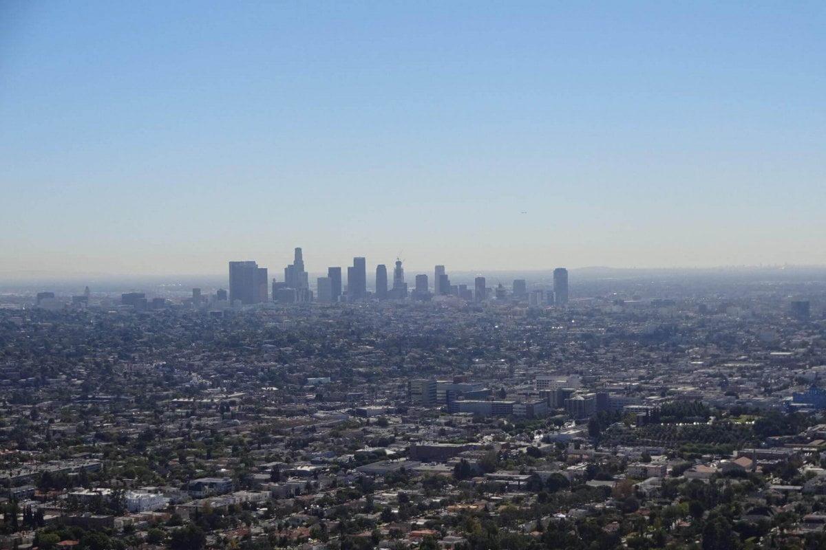 Downtown gesehen vom Griffith Observatorium. Bilder und Eindrücke aus Los Angeles und Hollywood, Kalifornien, USA.