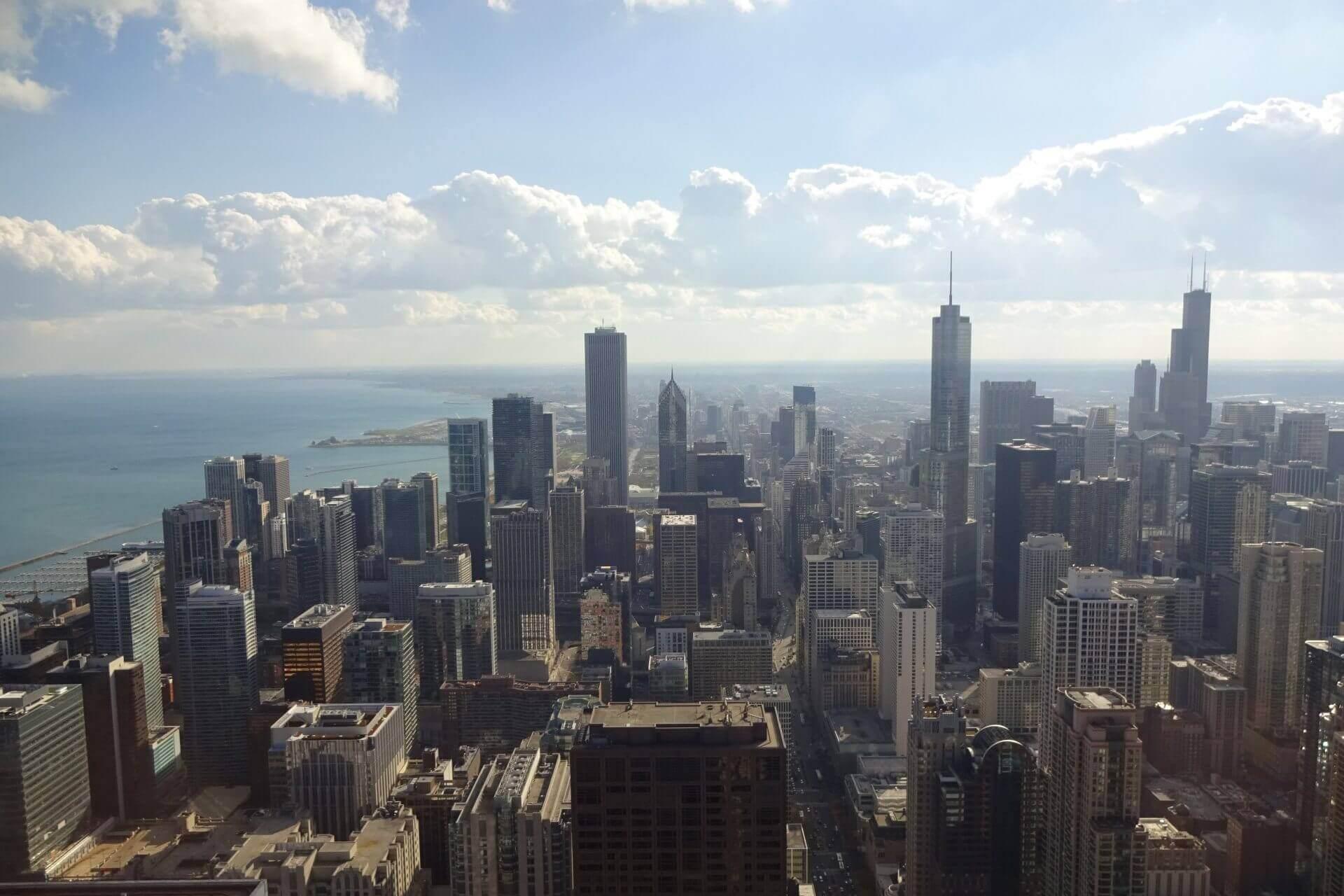 Ausblick auf The Loop vom observatory im 94. Stockwerk des John Hancock Center. Bilder und Eindrücke aus Chicago, Illinois, United States.