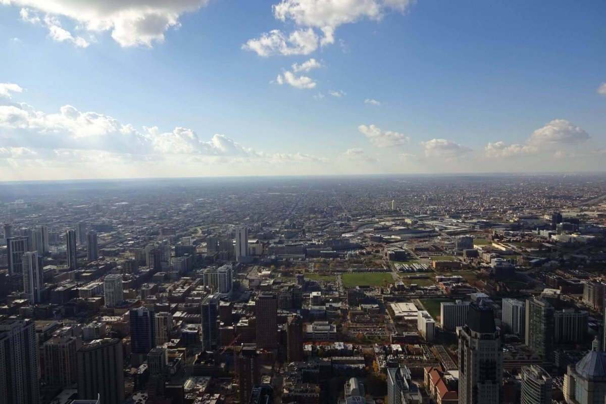 Ausblick auf Chicago vom observatory im 94. Stockwerk des John Hancock Center. Bilder und Eindrücke aus Chicago, Illinois, United States.
